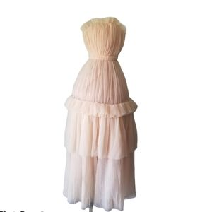 Peach Strapless Tulle Gown w/Cinched Waist